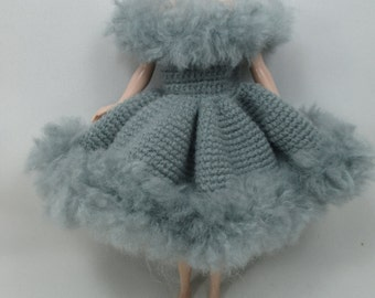 Handcrafted crochet knitting dress outfit clothes for Blythe doll # 200-27