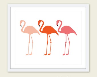 Flamingos Art Print - Flamingo Print - Flamingo Wall Art - Flamingo Decor - Tropical Birds Art - Nursery Decor - Nursery Wall Art