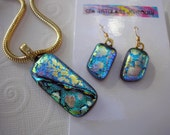 Dichroic Jewelry Set Matching Gilded Turquoise 14K Gold Earwires Color Shifting Fused Glass Iridescent Colors Gold Snake Chain ArtGlass Boho