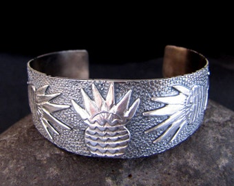 Fiesta Agave Sterling Cuff Bracelet   Size 7