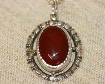 Handmade Silver Necklace, Gemstone Silver Pendant Necklace, Silver Israeli Made Jewelry, Carnelian Silver Necklace,