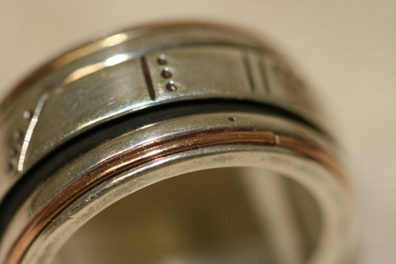 Silver Ring, Spinning Ring, Unisex Silver Ring, Wide Silver Band, Mix Silver and Gold Ring, Men's Rings, Wedding Rings,