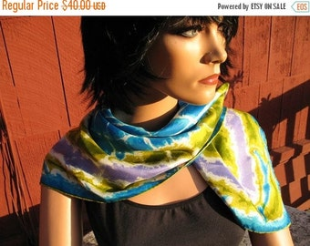 1960s Hippie Boho Vera Chartreuse Turquoise Lavender Olive Off White Tie Dye Designed Silk Scarf 27x27Square