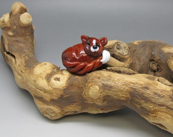 Sleeping Fox - Lampwork Focal Bead