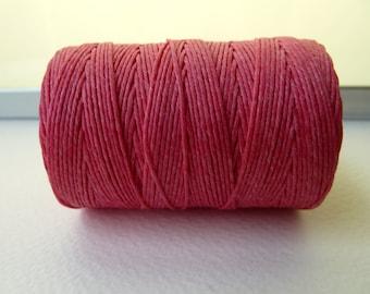 SALE - Fuchsia Irish Waxed Linen Cord, 4 Ply, 50 Gram Spool, 100 Yds - SALE