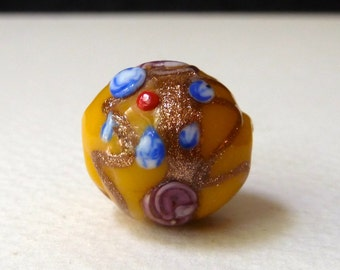 Antique Venetian Yellow Glass Aventurine Bead  - Raised Blue, Pink, Red Detail - Rare Vintage Collectible Bead - 16mm