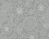 Grey and White Floral Jersey Knit Fabric, Gossamer by Sharon Holland for Art Gallery Fabrics, Wire Flowers in Foil Grey, 1 yard Jersey KNIT