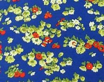 Royal Blue Red Green and Cream Petite Floral Rayon Spandex Knit