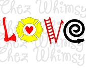 Firefighter Love SVG Cutting File, Clip Art SVG, Fireman Love Svg with Axe, Firehose, Ladder and Badge