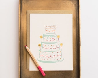 Cake and Sparklers wedding greeting card