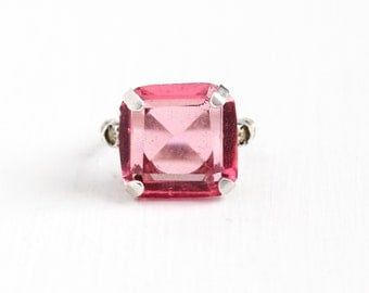 Sale - Vintage Sterling Silver Simulated Pink Sapphire Ring - Size 4 Art Deco 1930s Glass Rhinestone Emerald Cut Stone Statement Jewelry