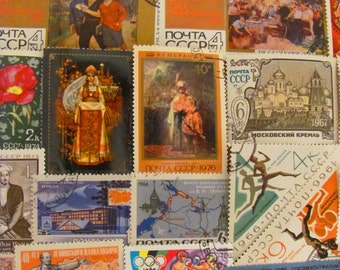 From Russia With Love 50 Vintage Postage Stamps Russian Federation Soviet Union CCCP USSR Siberia Steampunk Sochi Moscow Worldwide Philately