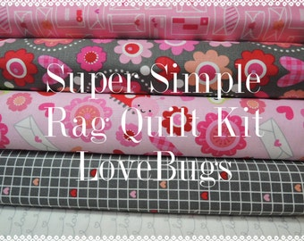 Love Bugs, Kit 1 Rag Quilt Kit,  Easy to Make, Personalized
