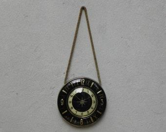 Round Ceramic Black Gold Rope Wall Clock