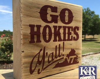 Virginia Tech Hokies reclaimed wood block Home VT state sign plaque painted decor