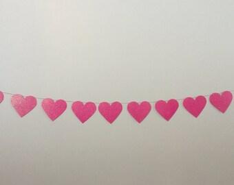Heart garland Happy Valentines Day garland Heart banner