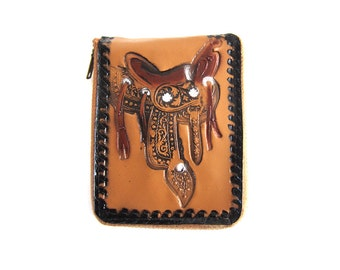 Vintage 50s Tooled Leather Cowboy Saddle Wallet Country Western with Zipper Pull - Kids Wallet