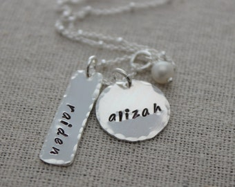 2 names mothers necklace | mom of two | two names necklace | push present | new mom gift | grandmother gift | childrens names | 2 kids