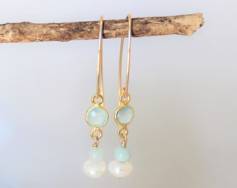 gift for her | chalcedony and 14k gold filled long earrings | sea foam green gemstones | beach inspired earrings | mothers day READY TO SHIP