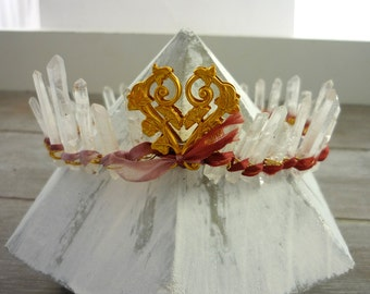 RESERVED For Joy...Rock crystal quartz points crown
