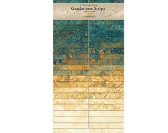 Oxidized Copper Gradations  Stonehenge Quilt Fabric Strips Jelly Roll 40 strips 2.5 x 44