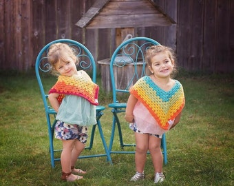 Crochet Toddler Poncho~ Ready to Ship~FREE SHIPPING