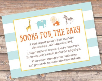 Safari Animals Bring a Book Cards Aqua Striped Baby Boy Zoo Animals Printable Stock the Library Enclosures Book Cards INSTANT DOWNLOAD