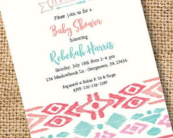 Tribal Baby Girl Invitation Arrows Printable Invitation Bridal Shower Invite Tribal First 1st Birthday Baby Shower Indie Boho Hipster