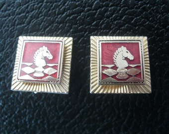 40s Knight clip on earrings gold and red swank chessboard design earrings