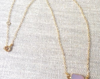 Gold Filled Layering Dainty Everyday, Crystal, Agate,  Minimal, 14k gold filled wrapped, Dainty, rose quartz Necklace.