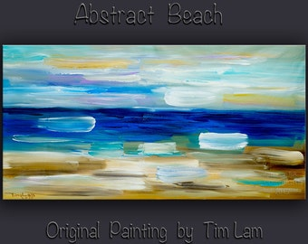 """Original Beach wall Art abstract painting huge Impasto brushwork oil painting on gallery wrap linen canvas Home Decor by Tim Lam 48"""" x 24"""""""
