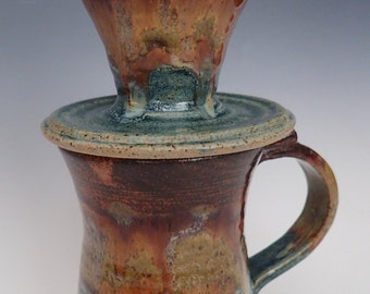 Handmade Stoneware Pour Over Coffee Dripper, Matching Mug and Reusable Filter