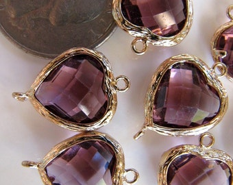 Glass Link Connector Heart Charms Pendants, Gold Tone Brass with Purple Gem, 19mm x 14mm, 2 Pieces, Clear Double Sided