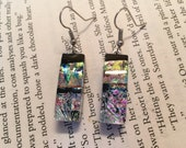 Dichroic glass jewelry, handmade dichroic glass, fused glass, fused glass jewelry, dichroic glass, Dangle Dichroic Glass earrings