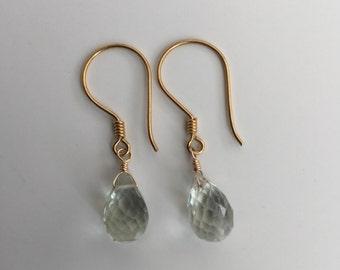 Green Amethyst Vermeil Earrings, Semiprecious Earrings, 24K Vermeil Earrings, Drops