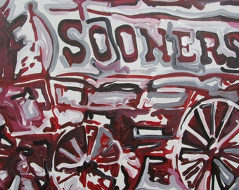 24x30 Officialy Licensed University of Oklahoma Sooners #JP6719 Painting by Justin Patten Sports Art College Baseball Football Basketball