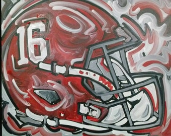 Officialy Licensed University of Alabama Painting by Justin Patten #083 Sports Art College Baseball Football Basketball Helmet