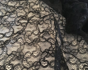 Black Lace Vintage Antique Embroidered