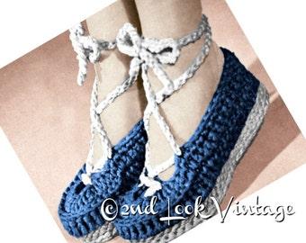 Vintage Crochet Pattern 1940s Wedgie Shoes Ballet Slipper Crocheted Sandal Digital Download PDF