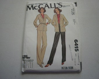 Pattern Women Pants Shirt-Jacket Sizes 14-16-18 Vintage McCalls 6415