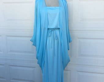 1970s 1980s vintage blue semi sheer spaghetti straps grecian draped goddess dress with matching jacket size S