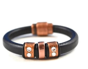 Black Leather Bracelet with Copper and Crystal Sliders and Copper Magnetic Clasp