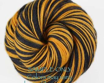 "Dyed to Order: Self-striping Hand-dyed Sock Yarn - ""BLACK - GOLD"" - Football yarn - Baseball Basketball - School colors - Pittsburgh, Boston"