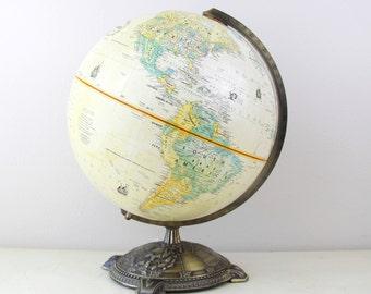 Vintage Globemaster 12 Inch Diameter Globe with Antique Brass Metal Base by Replogle,Inc , Desk Globe, Wedding Table Decor, Item No 1578