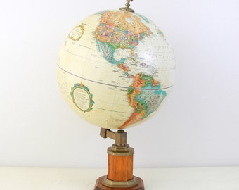 "Vintage Replogle 12"" World Classic Series Globe with Wood Stand / Made in USA / Item No. 1593"