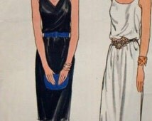 SALE 1970s V Neck Scoop Neck Evening Dress Semi Fitted Uncut FF Butterick 4742 © 1979 Sizes 12 - 16 Bust 34-38 Women's Vintage Sewing Patter