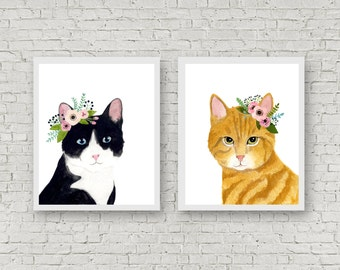 Watercolor cats. set of 2, flower crown cats, Animal Paintings, watercolor animal, woodland, kids poster, kitten painting, cat painting,