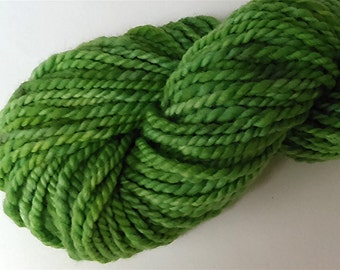 "Lime Yarn Handspun Bulky Thick Babydoll Wool & Alpaca 72 Yards Hand Dyed Two Ply Lime Green Doll Hair Knitting  "" Leapfrog  "" (more avail.)"