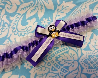 penguin wedding garter, purple penguin garter, purple satin with lilac and ivory organza personalized wedding garter with large purple bow