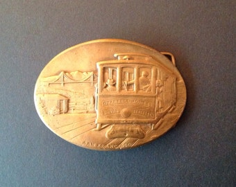 Vintage Brass Cast Metal Belt Buckle San Francisco California 1970's made in USA hpc Industrial Workwear Vintage Fashion Accessories